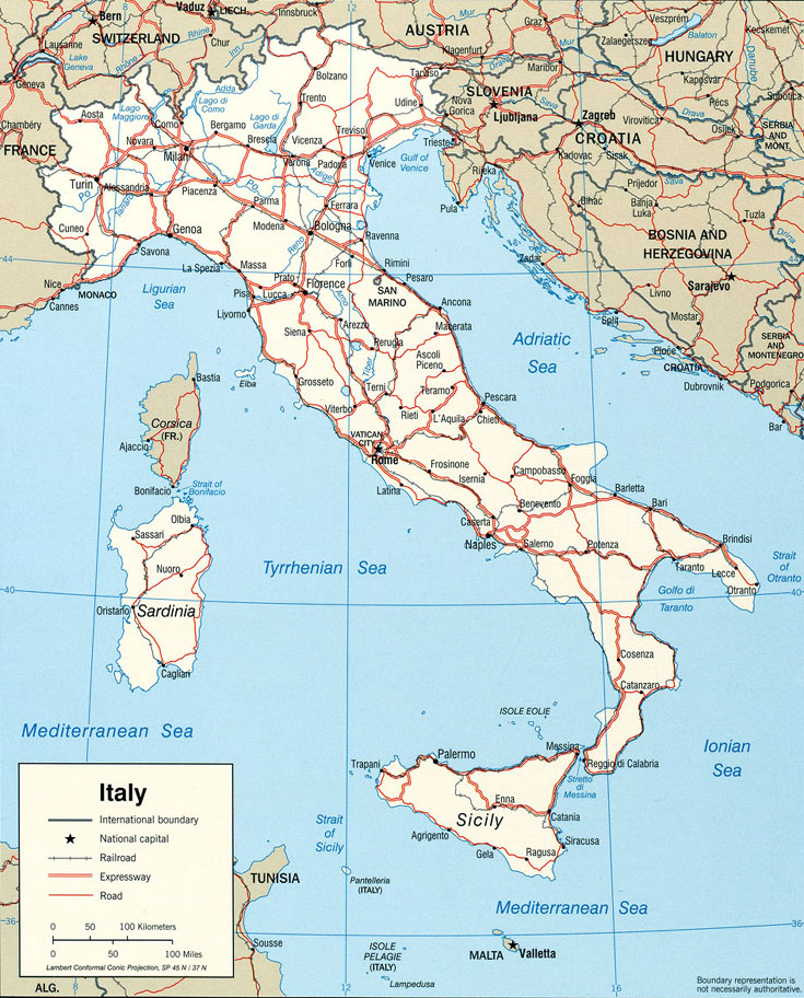 carte routiere italie