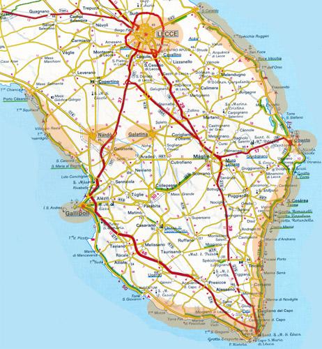 carte des pouilles détaillée Carte du Salento