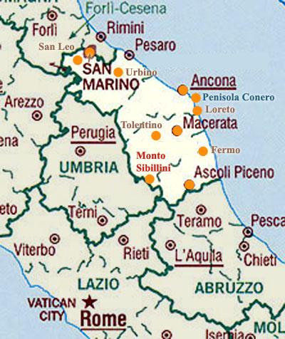 Marche Cartina Italia.Cartina Delle Marche