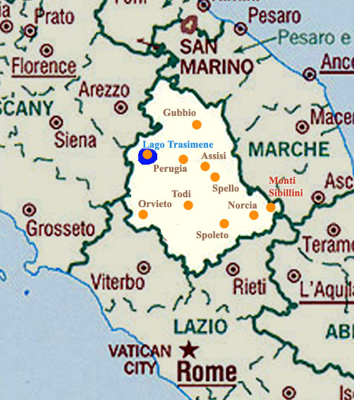 Umbria Cartina Italia.Cartina Di Umbria