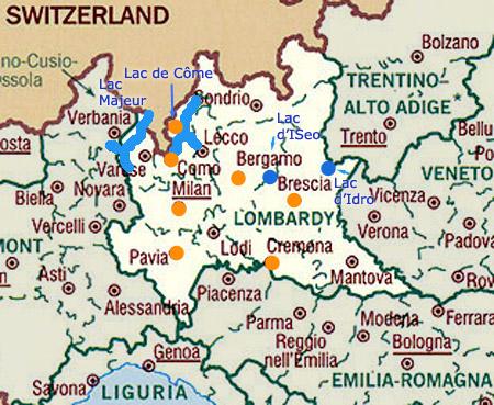 carte de la lombardie - Image
