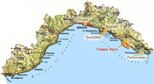 Liguria Di Levante Cartina.Mappa Di Liguria