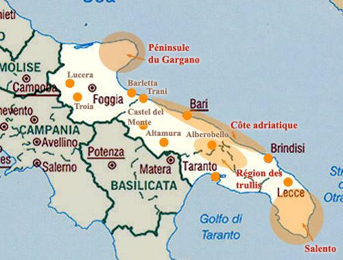 Carte des pouilles sites et villes sites des pouilles villes
