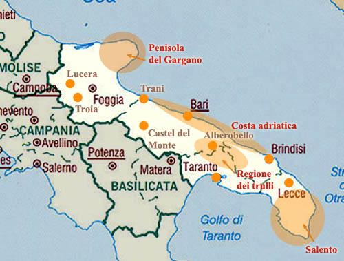 Cartina Italia Puglia.Cartina Di Puglia