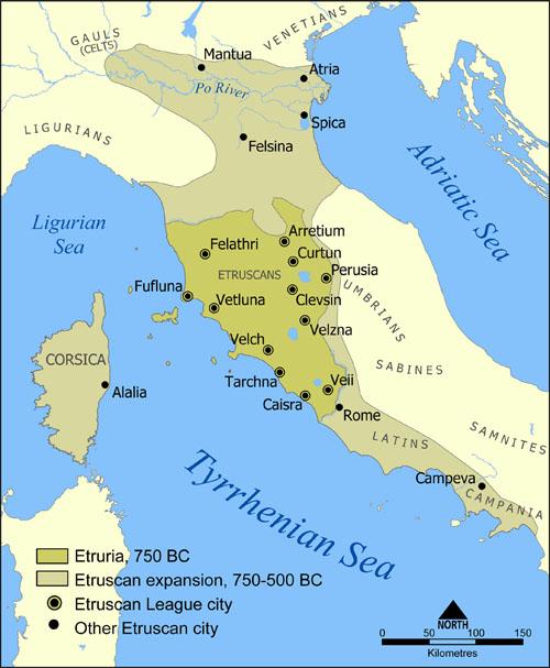 L'Etrurie   Le territoire historique des Etrusques