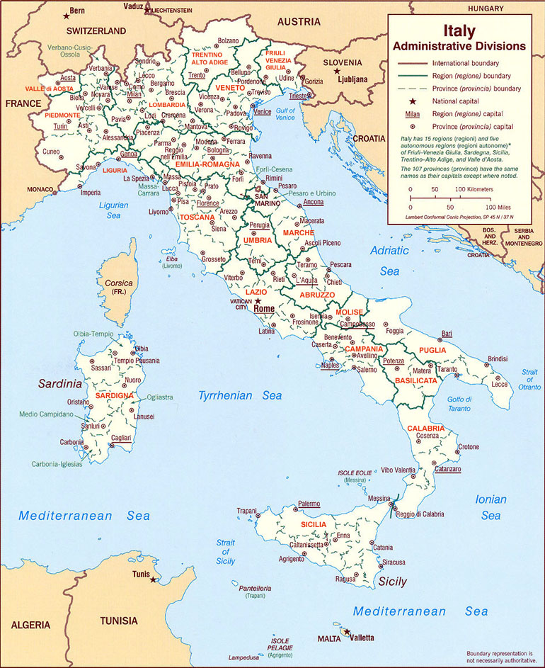 Italia In Cartina Geografica.Cartina Regione D Italia