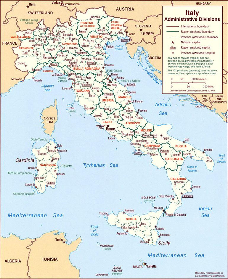 Mappa delle regione italiane : abruzzo, basilicata, emilia-romagna